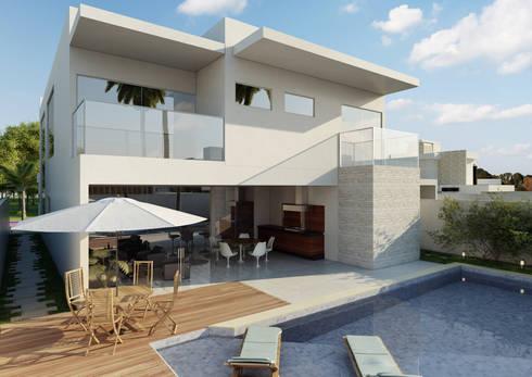 Fachada Posterior: Casas modernas por CR Arquitetura