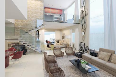 Interior: Salas de estar modernas por CR Arquitetura