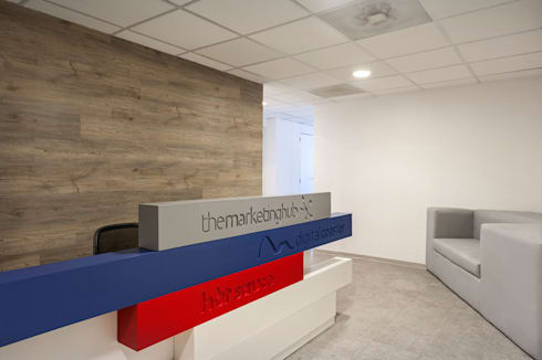 OFICINAS DIGITAL COASTER PISO 2, POLANCO DF: Oficinas y tiendas de estilo  por HO arquitectura de interiores