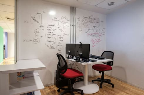 OFICINAS HOT SAUCE, POLANCO DF.: Oficinas y tiendas de estilo  por HO arquitectura de interiores