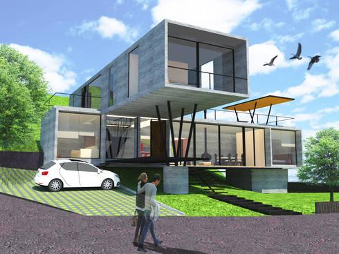 Fachada principal y acceso: Casas de estilo moderno por SERVER arquitectura y construcción