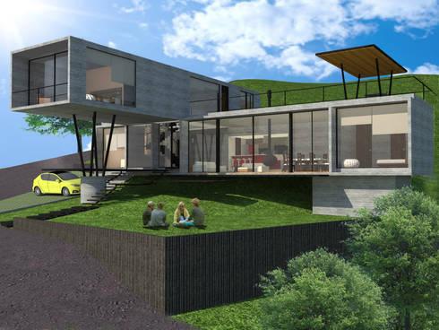 Perspectiva: Casas de estilo moderno por SERVER arquitectura y construcción