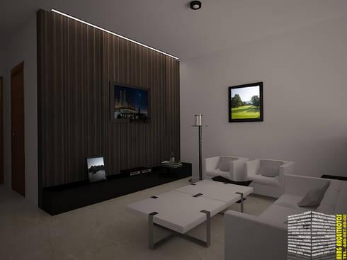 SALA DE TV: Salas de estilo minimalista por HHRG ARQUITECTOS