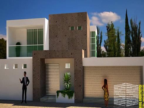 FACHADA CON JARDINERA: Casas de estilo moderno por HHRG ARQUITECTOS