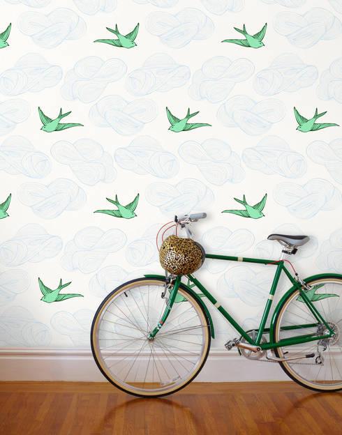 Daydream Wallpaper - Green:  Walls & flooring by Monument Interiors