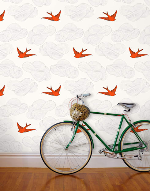 Daydream Wallpaper - Orange:  Walls & flooring by Monument Interiors