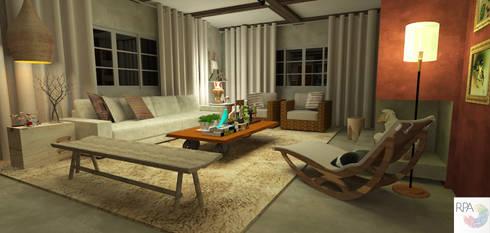 O Living da Casa da Serra: Salas de estar campestres por Rangel & Bonicelli Design de Interiores Bioenergético