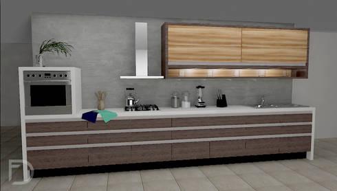 Cocina de nogal.: Cocinas de estilo moderno por ESTUDIO FD