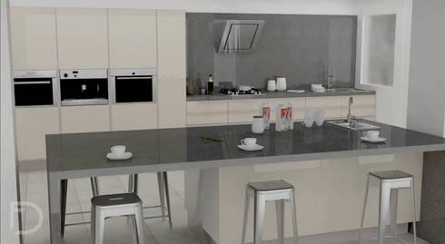 Cocina al alto brillo.: Cocinas de estilo minimalista por ESTUDIO FD