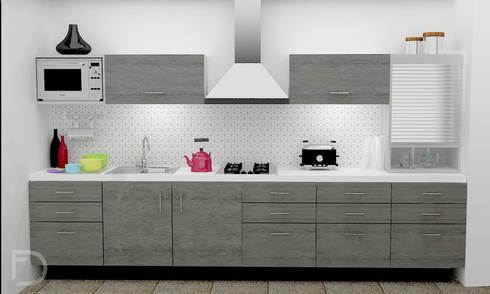 Cocina con tapiz geométrico.: Cocinas de estilo ecléctico por ESTUDIO FD