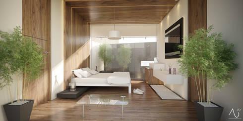 Recamara Principal: Recámaras de estilo minimalista por 21arquitectos