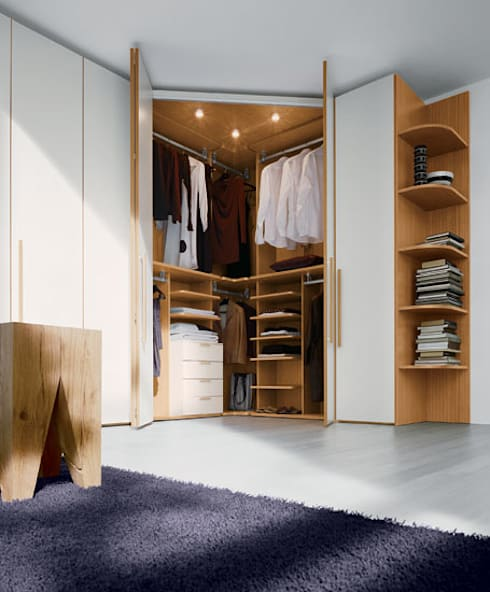Built in Hinged Door Corner Wardrobe :  Bedroom by Bravo London Ltd