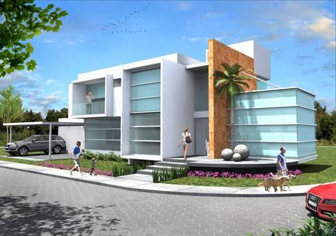 Fachada Principal: Casas de estilo minimalista por Milla Arquitectos S.A. de C.V.