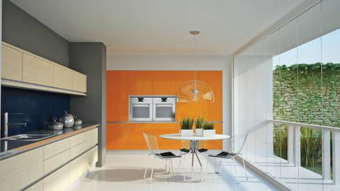 Minoru vidrio y madera: Cocinas de estilo moderno por Katz - estilo&diseño