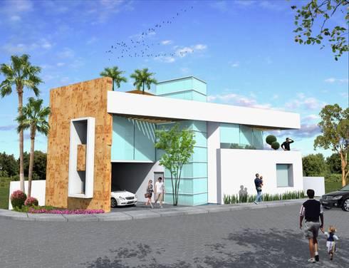 Fachada principal sin balcón: Casas de estilo minimalista por Milla Arquitectos S.A. de C.V.