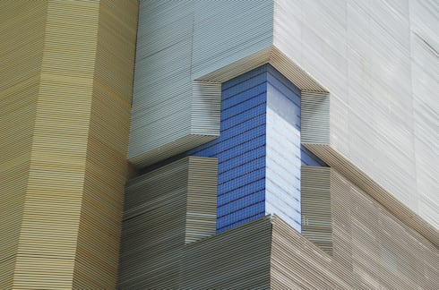 Detalhe da fachada: Escritórios  por Peixoto Arquitetos Associados