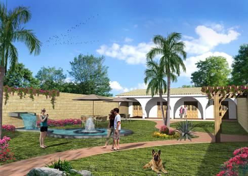 Zona de descanso: Jardines de estilo rústico por Milla Arquitectos S.A. de C.V.