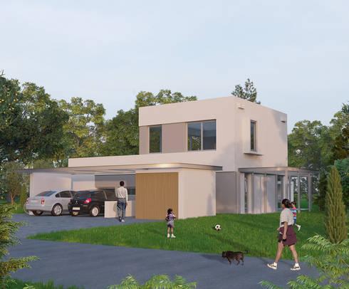 Frente: Casas de estilo minimalista por Ramirez Arquitectura