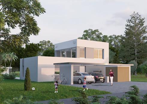 Frente : Casas de estilo minimalista por Ramirez Arquitectura