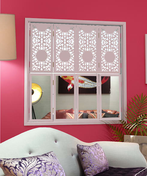 Nottingham Lace window shutters with mirrors for modern interiors:  Windows & doors  by Mirror & Light Shutters