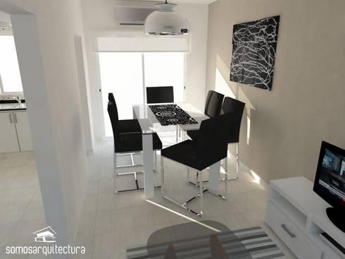 Diseño interior sobre área pública de vivienda: Comedores de estilo moderno por Somos Arquitectura