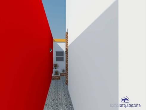 Diseño de jardín de invierno con parrilla y patio exterior de ...