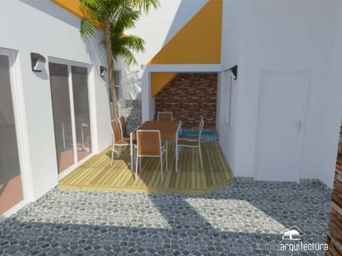 Diseño de jardín de invierno con parrilla y patio exterior: Jardines de estilo rural por Somos Arquitectura