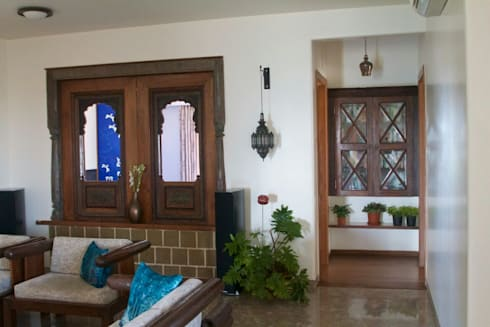 jharokhas ( windows ) : asian Living room by uttara and adwait furniture