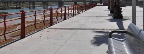 Paseo del Río, Piedras Negras, Coahuila: Jardines de estilo moderno por Nacional de Bancas