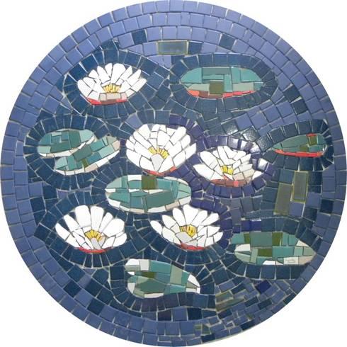 Pisos em mosaico – Mandalas em mosaico para pisos e paredes: Parede e pavimento  por Mosaico Leonardo Posenato
