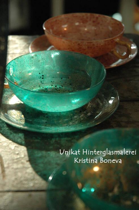 Unikat Jena Glas - Teetassen - Hinterglasmalerei:  Kunst  von Kristina Boneva - Unikate