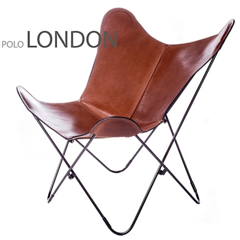 BKF Polo London leather chair with black frame: Livings de estilo clásico por Big BKF Buenos Aires