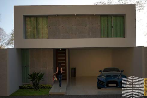 FACHADA CON COCHERA TECHADA: Casas de estilo minimalista por HHRG ARQUITECTOS