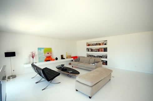 Renovação de apartamento na Junqueira: Salas de estar modernas por Borges de Macedo, Arquitectura.