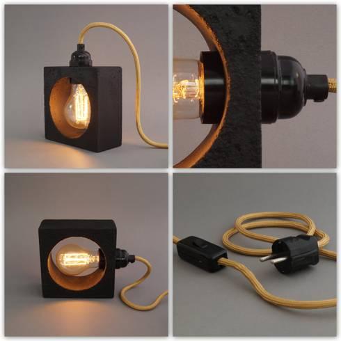 betonlampe tischleuchte nomad nero von homify. Black Bedroom Furniture Sets. Home Design Ideas