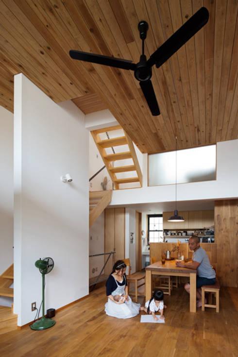 テレコハウス: 藤森大作建築設計事務所が手掛けたリビングです。