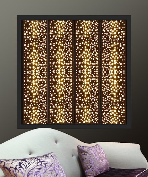 Black window shutters with lights in  perforated circles design:  Windows & doors  by Mirror & Light Shutters