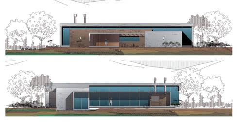 Dibujos Fachadas Casa el Tipal: Casas de estilo moderno por Proyecto Norte