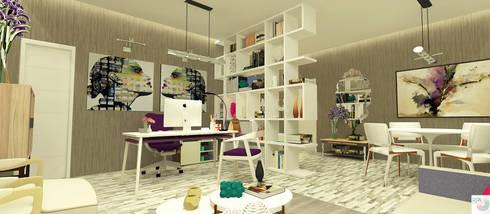 O Escritório da Empresária: Edifícios comerciais  por Rangel & Bonicelli Design de Interiores Bioenergético