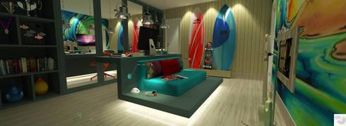 Quarto do Adolescente:   por Rangel & Bonicelli Design de Interiores Bioenergético