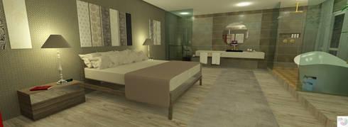 Suíte do Casal: Quartos  por Rangel & Bonicelli Design de Interiores Bioenergético