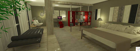 Suíte do casal: Quarto  por Rangel & Bonicelli Design de Interiores Bioenergético