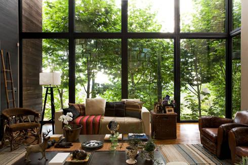 Residência Campos do Jordão: Salas de estar campestres por João Armentano Arquitetura