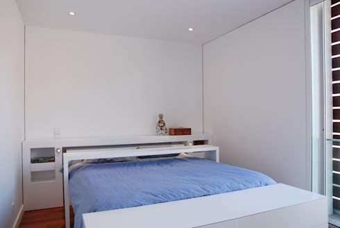 Projecto Vale Pisão – Gabinete de Arquitectura Inexistencia: Quartos modernos por Inexistencia Lda