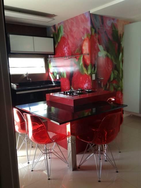 Desenho e Decoração de Apartamento no Bairro de Fátima, Fortaleza: Cozinhas modernas por 4R Arquitetura