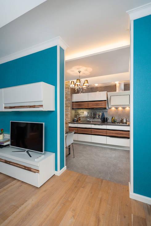 غرفة المعيشة تنفيذ Asiya Orlova Interior Design