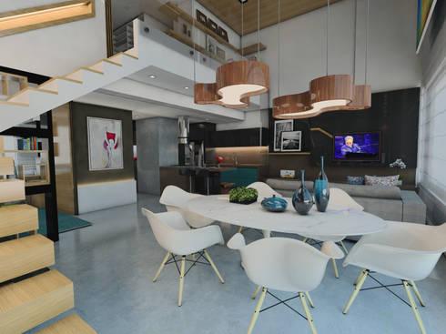 LOFT DM: Salas de jantar modernas por Ricardo Cavichioni Arquitetura
