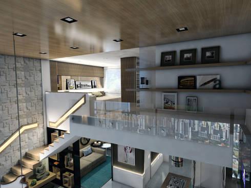 LOFT DM: Corredores e halls de entrada  por Ricardo Cavichioni Arquitetura