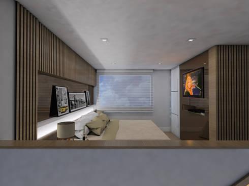 LOFT DM: Quartos  por Ricardo Cavichioni Arquitetura
