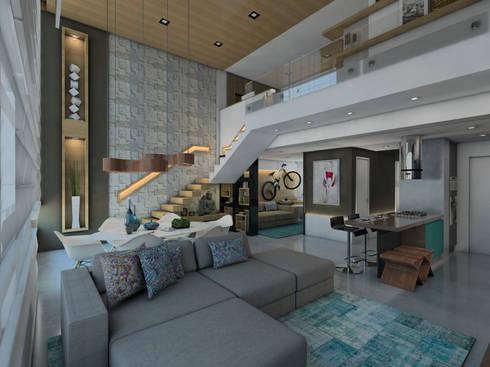 LOFT DM: Salas de estar modernas por Ricardo Cavichioni Arquitetura